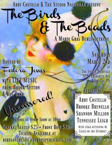 The Birds & the Beads: A Mardi Gras Burlesquerade at The Studio Nashville