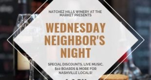 Wednesday Neighbor's Night at Natchez Hills Winery at the Market, Nashville, Tennessee