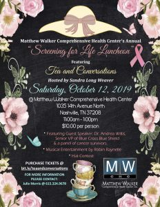 Screening for Life Luncheon featuring Tea and Conversations, Nashville, Tennessee > 10/12/19