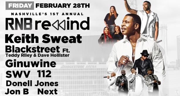 Keith Sweat, Blackstreet RnB Rewind, Bridgestone Arena, Nashville 2/28/20. Buy Tickets on Nashville.com