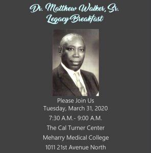 Dr. Matthew Walker, Sr. Legacy Breakfast at Meharry Medical College, Nashville, Tennessee