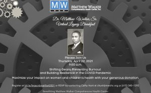 Dr. Matthew Walker, Sr. Virtual Legacy Breakfast 2021, Nashville, TN