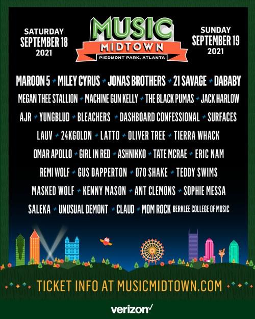 Music Midtown 2021 Lineup, Piedmont Park, Atlanta, GA